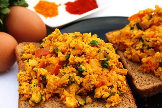 Indian spicy scrambled eggs bhurji