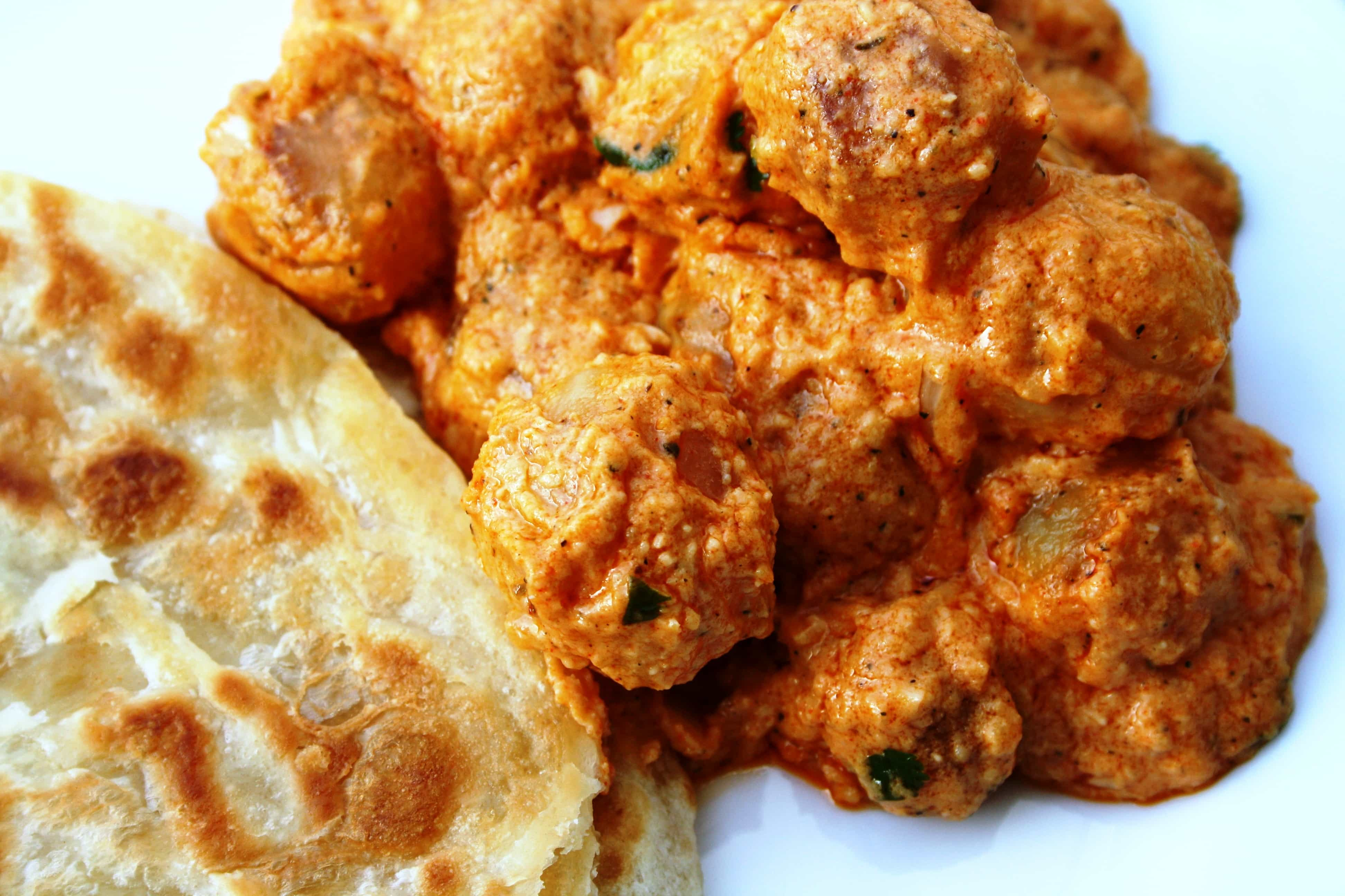 Kashmiri Dum Aloo- Fried potatoes cooked in a rich spicy curry