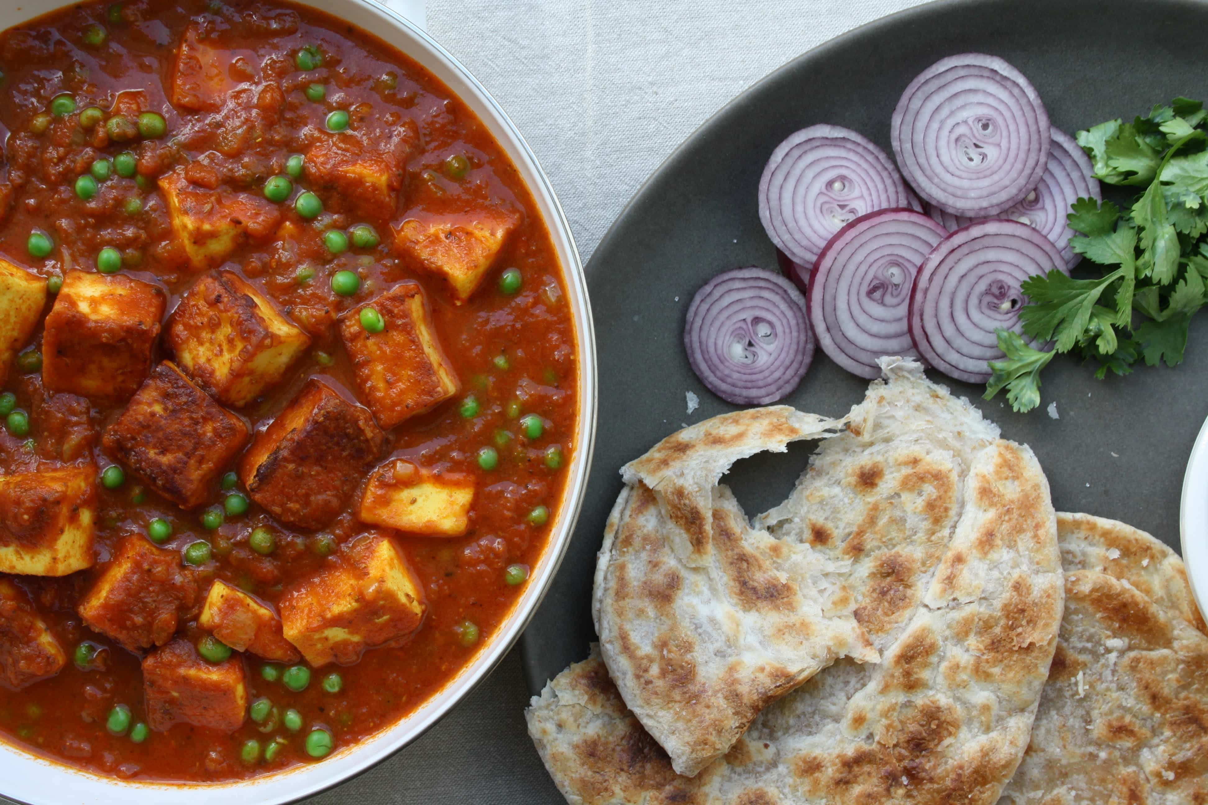 Punjabi Matar Paneer - Indian cottage cheese cooked with tomato ...