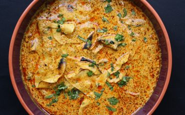Maunika gowardhan authentic indian recipes cooking methods rajasthani papad ki sabji spicy poppadum curry cooked with turmeric coriander and chilli forumfinder Gallery